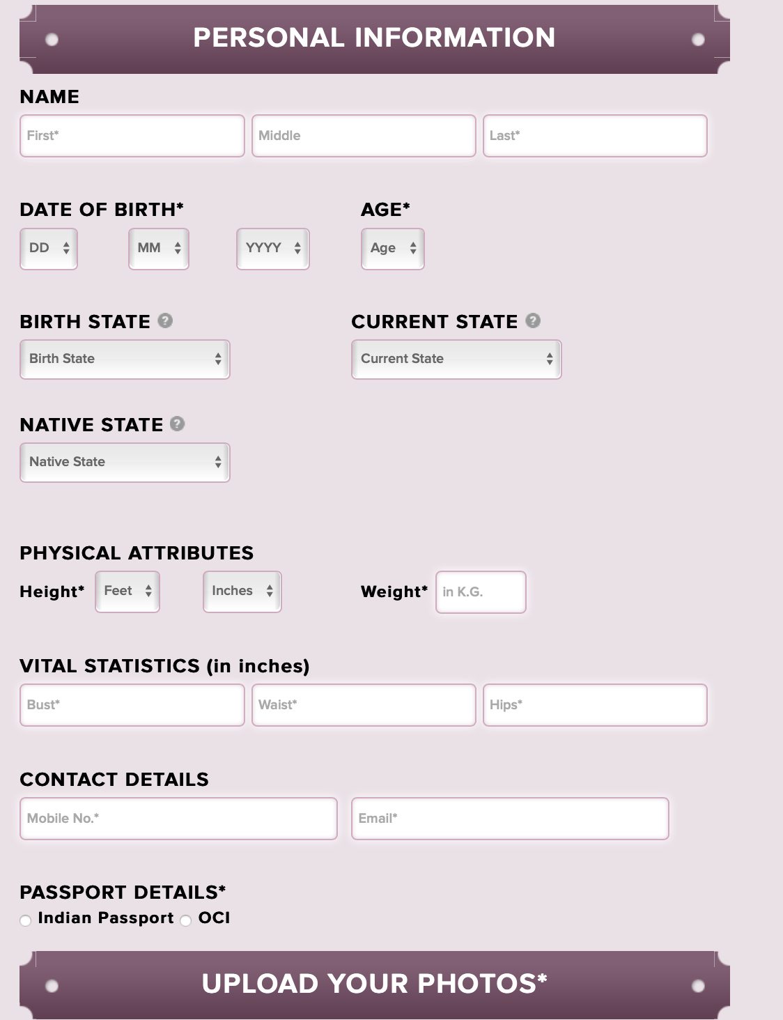 Miss India Application Form